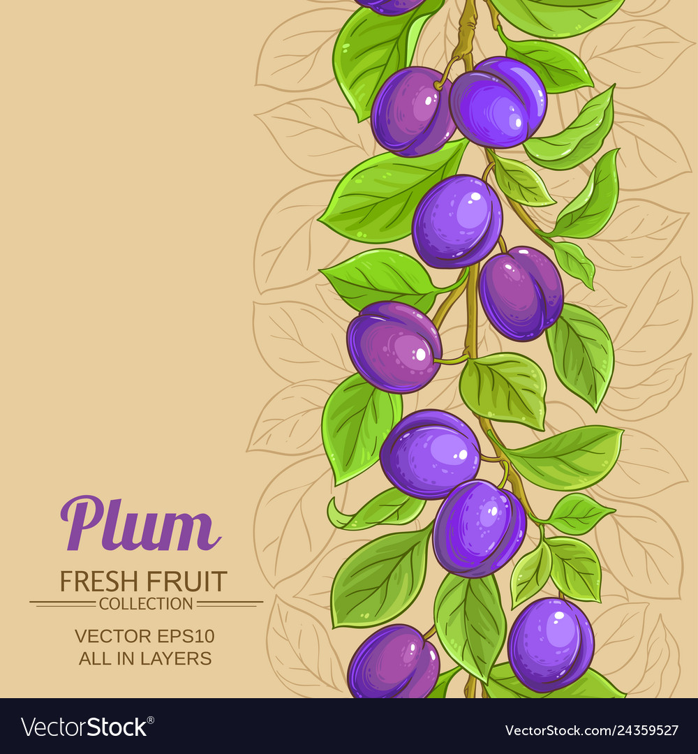 Plum branches pattern on color background