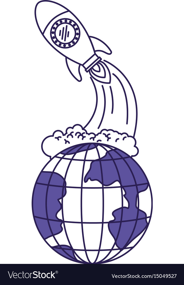 Purple line contour of earth globe and space