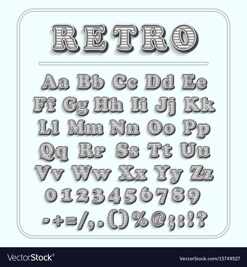 Retro font on light blue background the alphabet