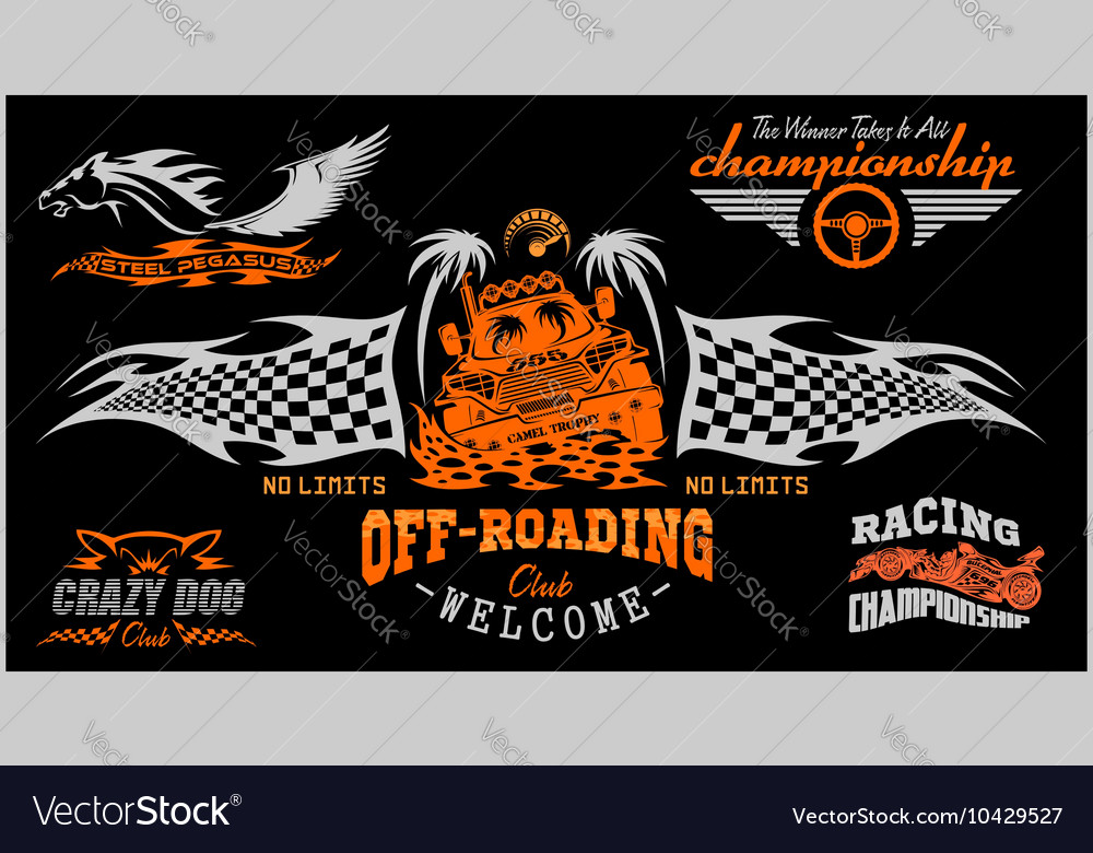 Set of off-road suv car emblems and badges