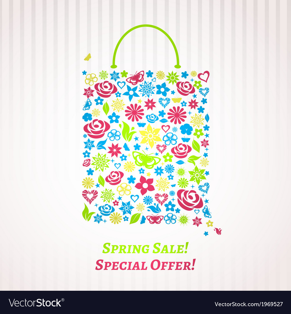 Shopping bag for Spring Sale vector image