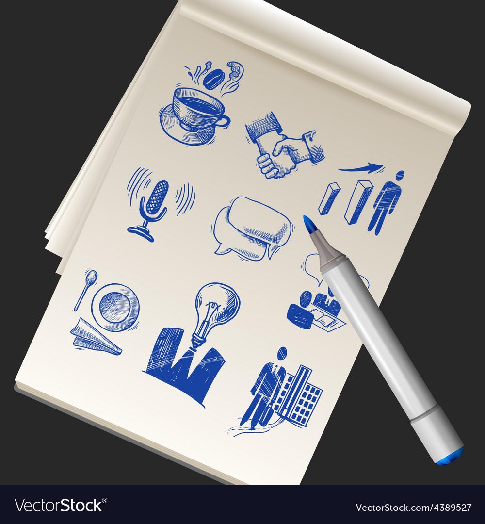 Sketchbook With Business Doodles