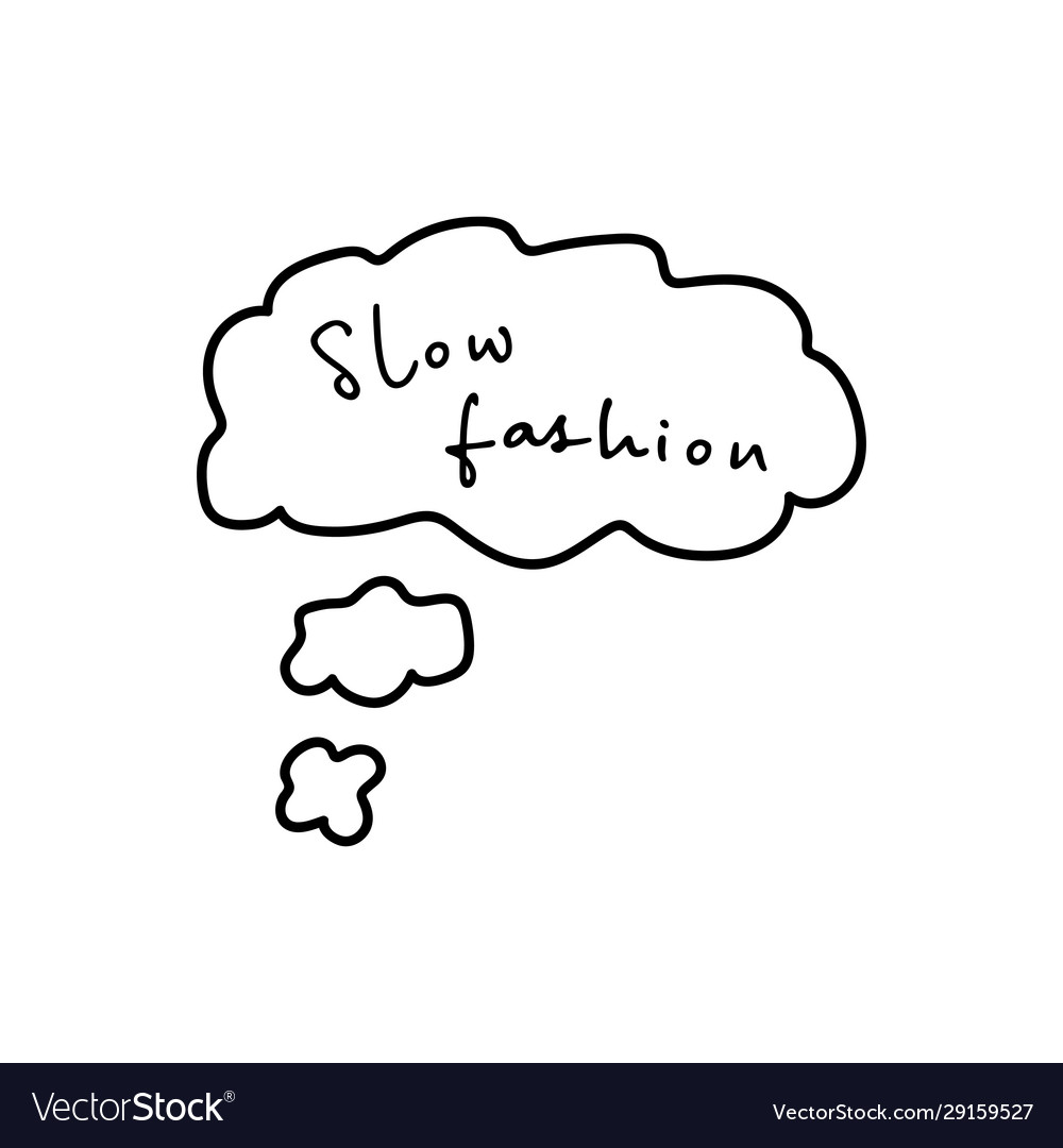 Slow fashion handwritten title in thought cloud