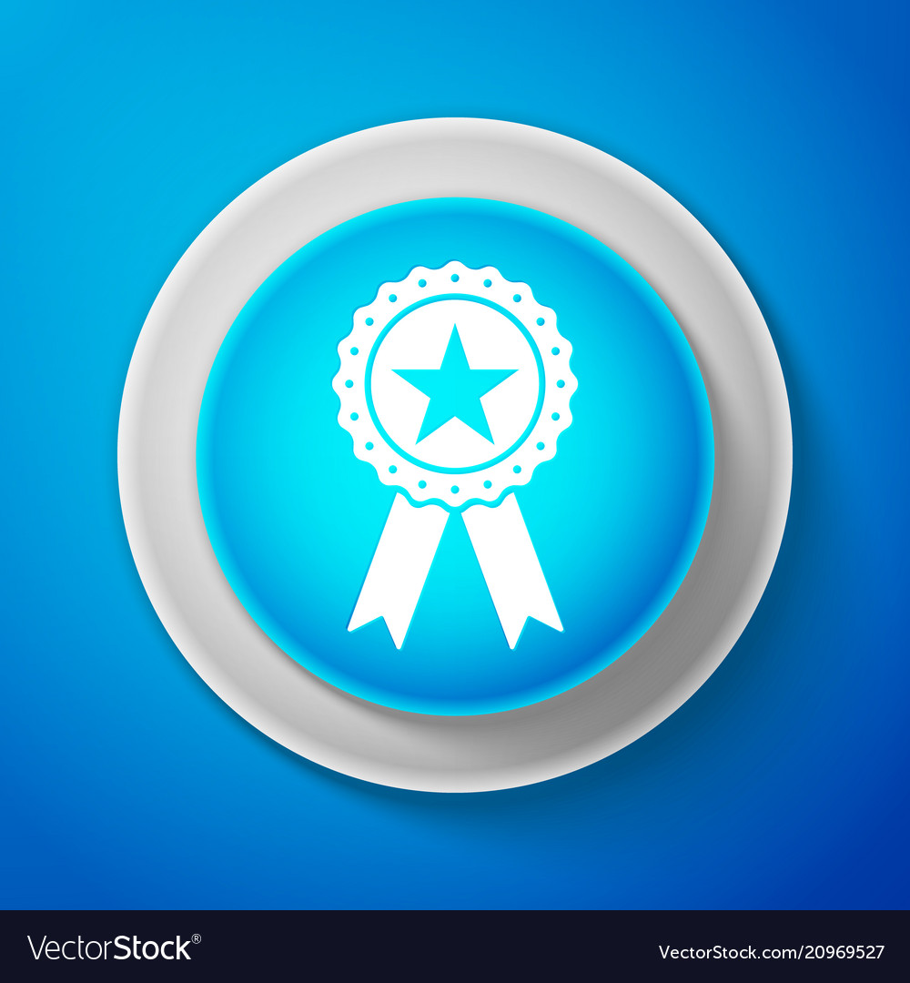 White award medal with star and ribbon icon vector image