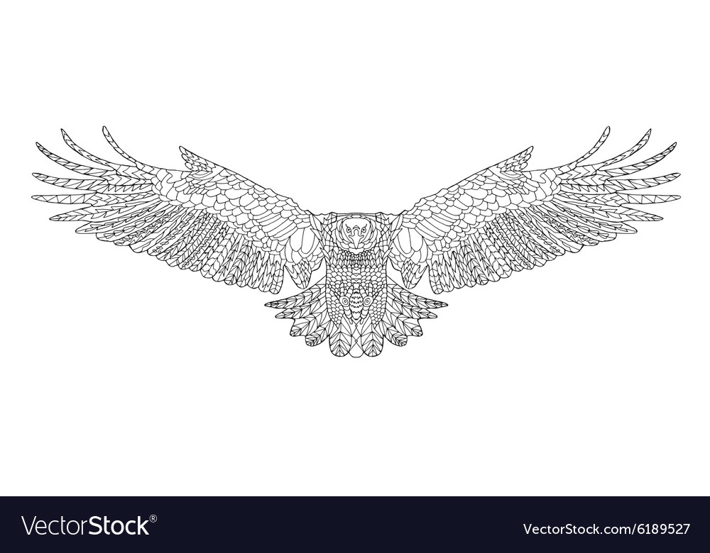 Zentangle stylized eagle Sketch for coloring page