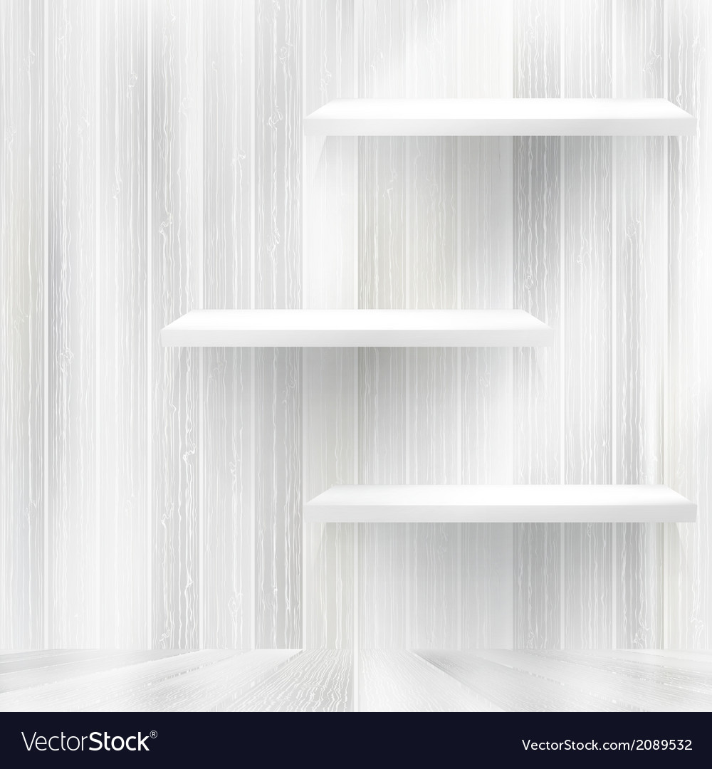 Blank White Wooden Bookshelf Eps10 Vector Image