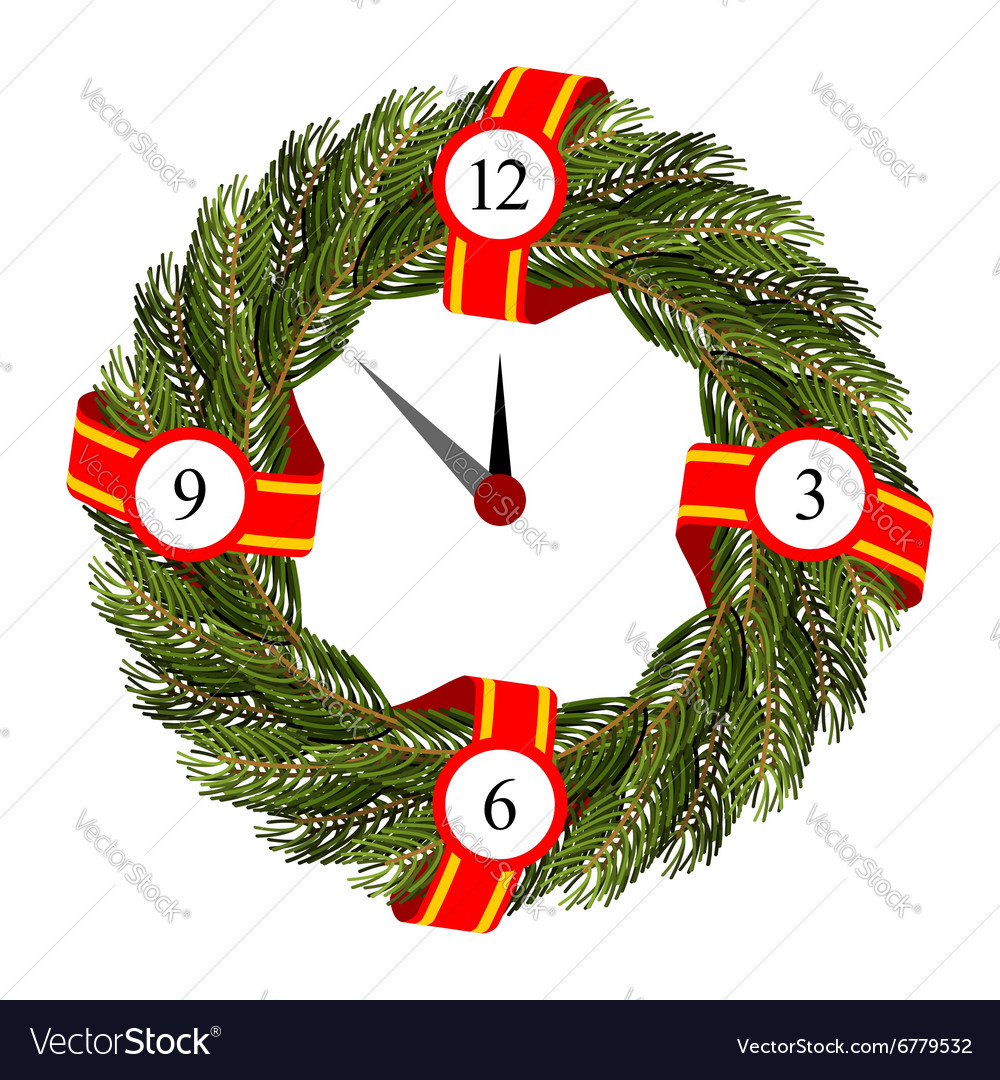 Christmas round frame of branches of Christmas vector image