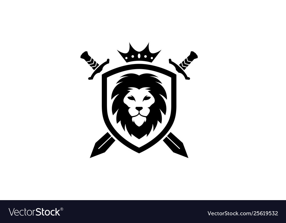 Creative heraldic black lion head crown king