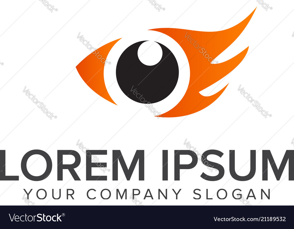 Eye bird logo design concept template eye fish