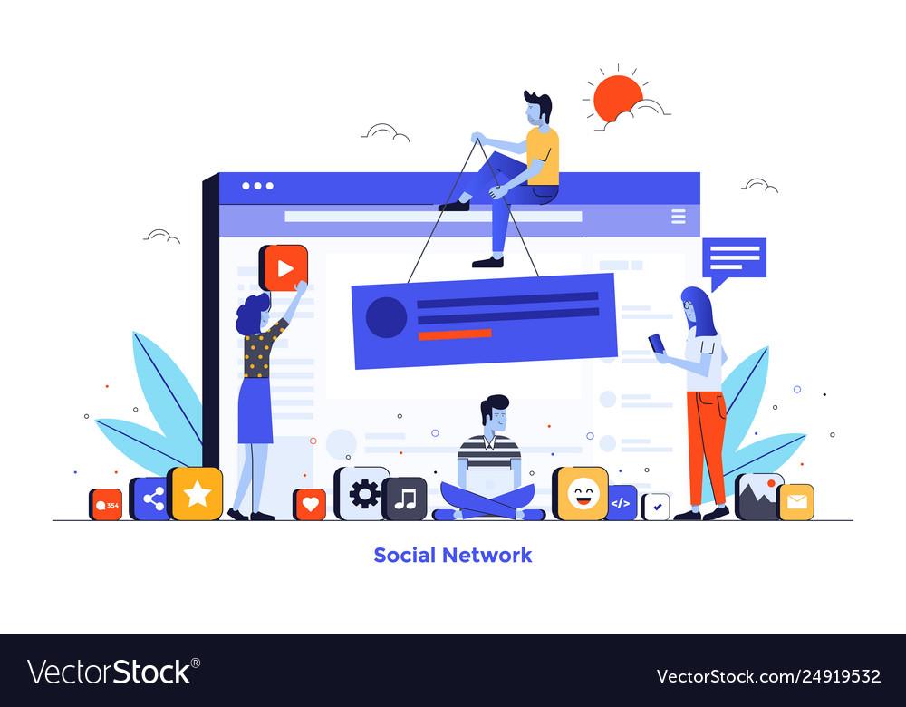 Flat color modern design - social network