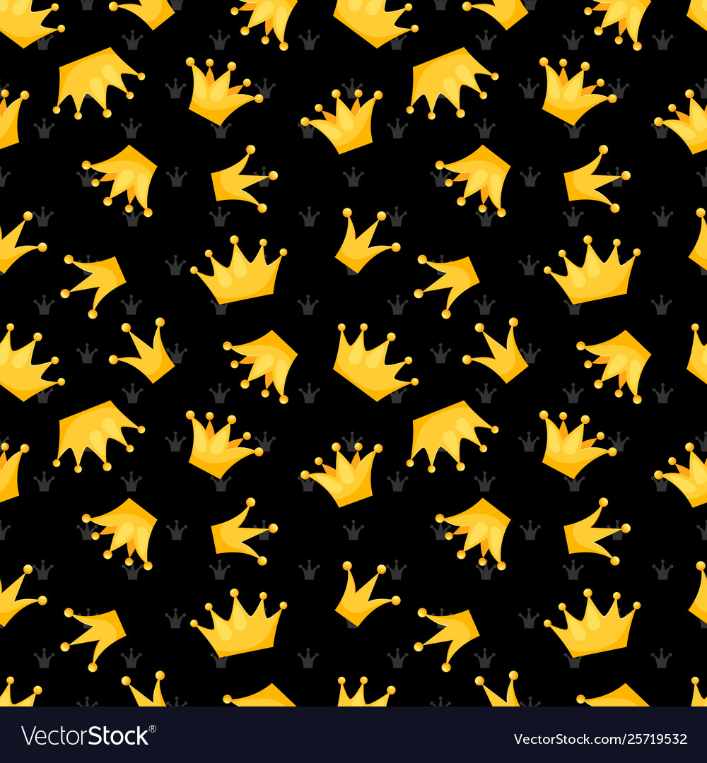 Gold crowns on black seamless pattern
