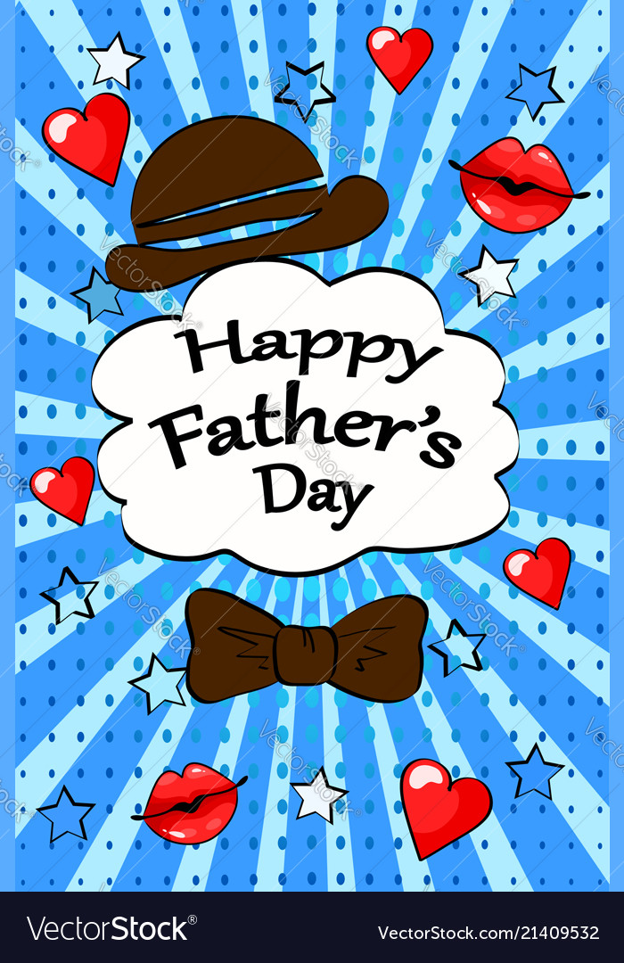 Happy fathers day greeting card vintage retro pop vector image m4hsunfo