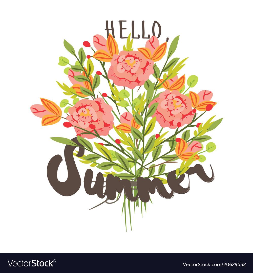 Hello summer hand drawn post card template