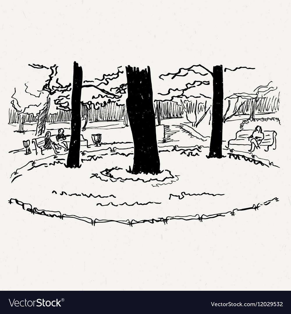 Landscape nature park trees and bushes
