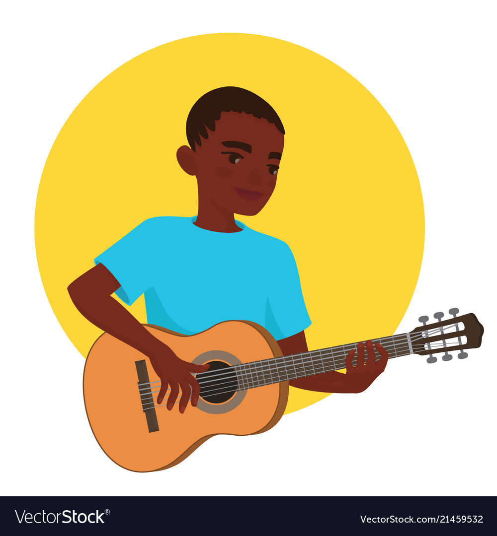 Musician playing guitar african boy guitarist is