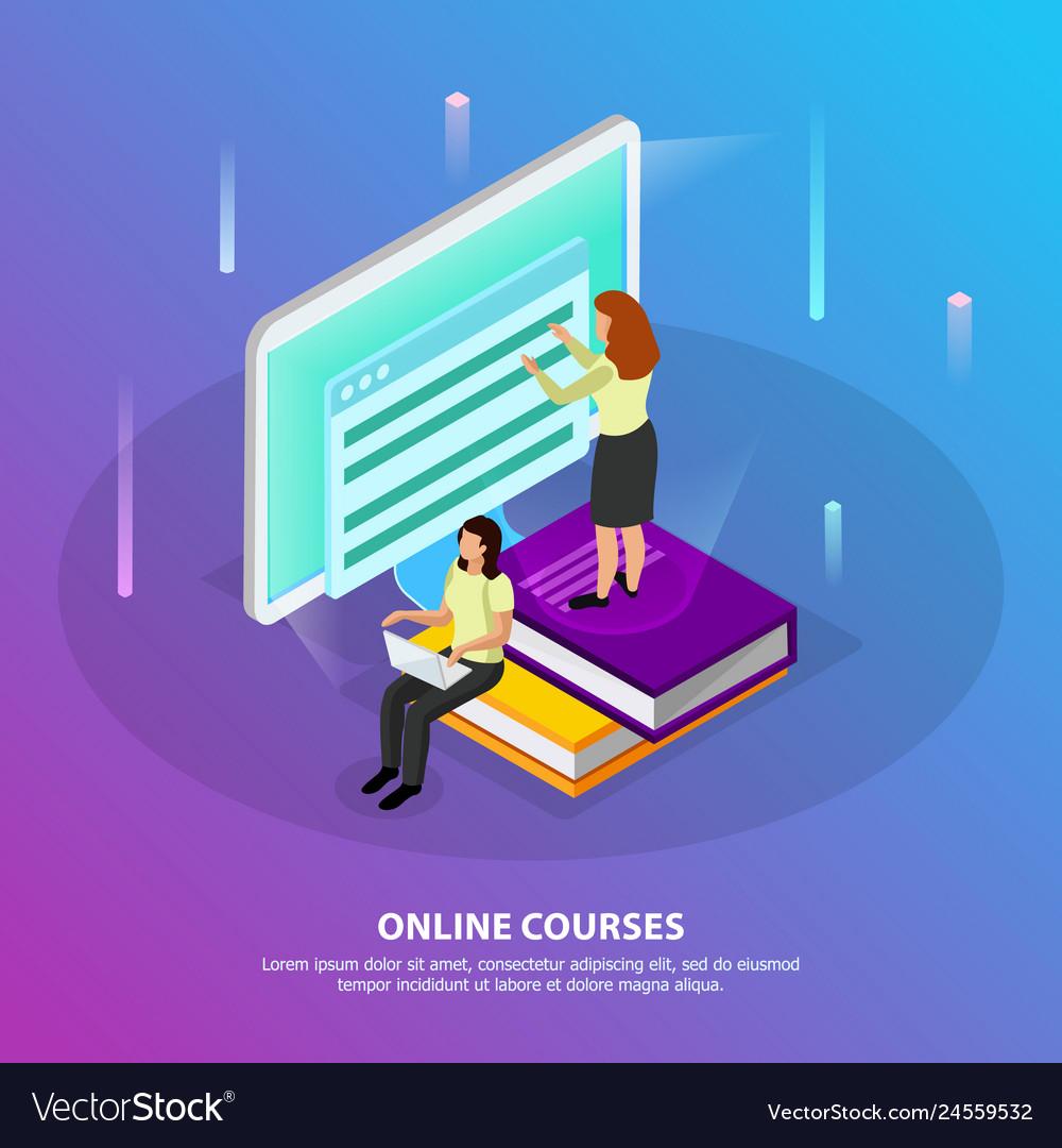 Online courses isometric background