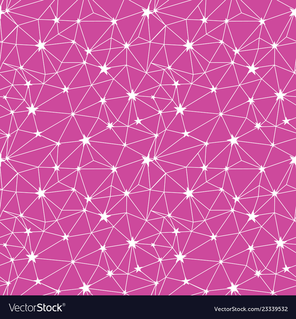 Pink white stars network seamless pattern vector