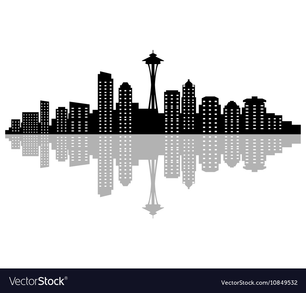 seattle skyline royalty free vector image vectorstock rh vectorstock com seattle city skyline vector seattle city skyline vector free