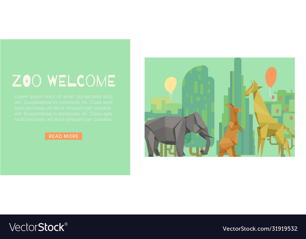Welcome to zoo green cartoon banner