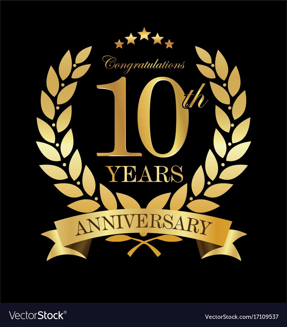 Anniversary golden laurel wreath 10 years 3