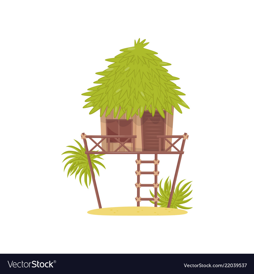 Bungalow hut in tropical jungle