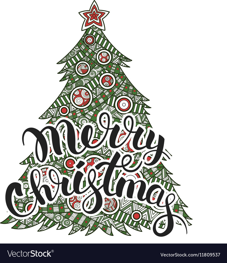 Calligraphy lettering Merry Christmas
