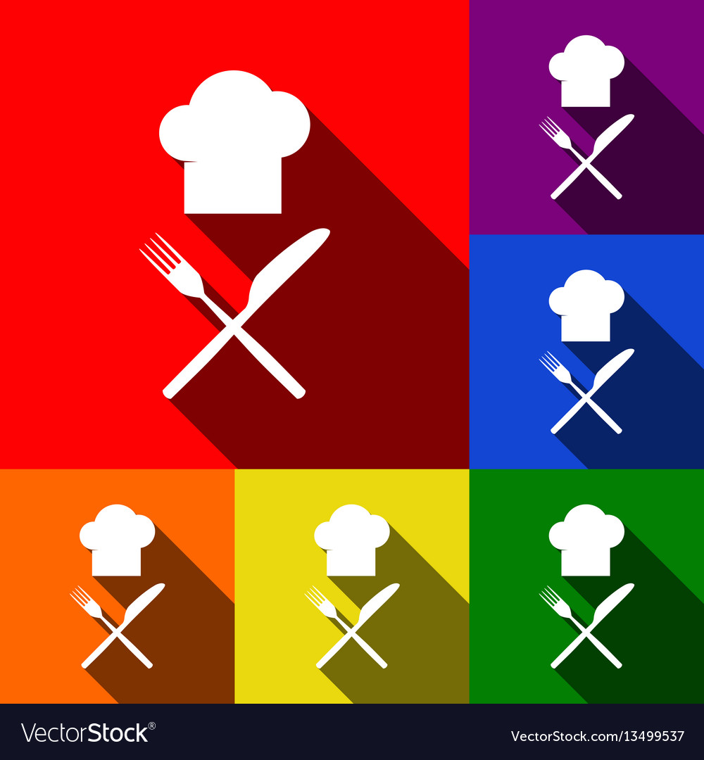 Chef with knife and fork sign set of