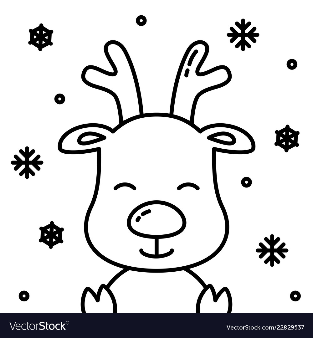 Christmas Images Cartoon Black And White.Cute Christmas Reindeer Black Outline With Snow