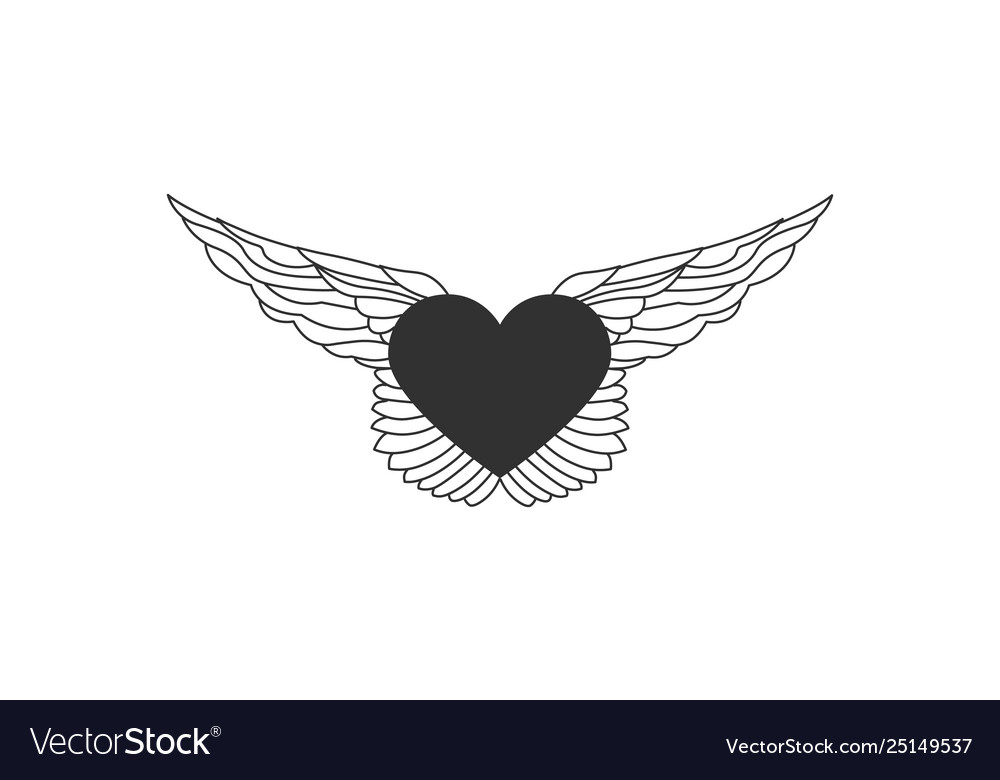 Flying heart with wings line with editable