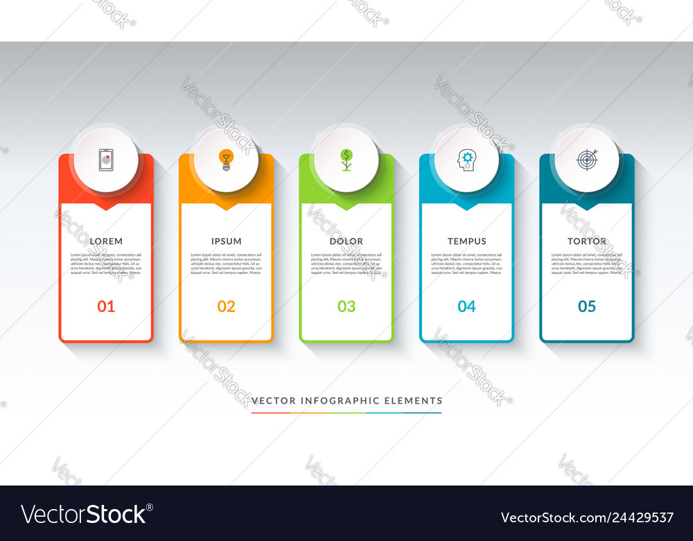 Infographic banner with 5 circles and tabs