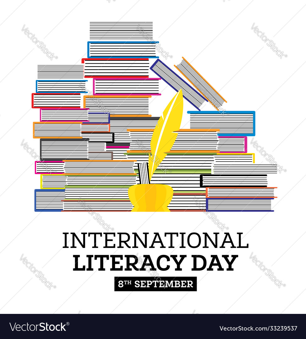 International literacy day poster with pile