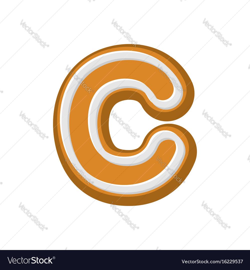 Letter c gingerbread peppermint honey-cake font