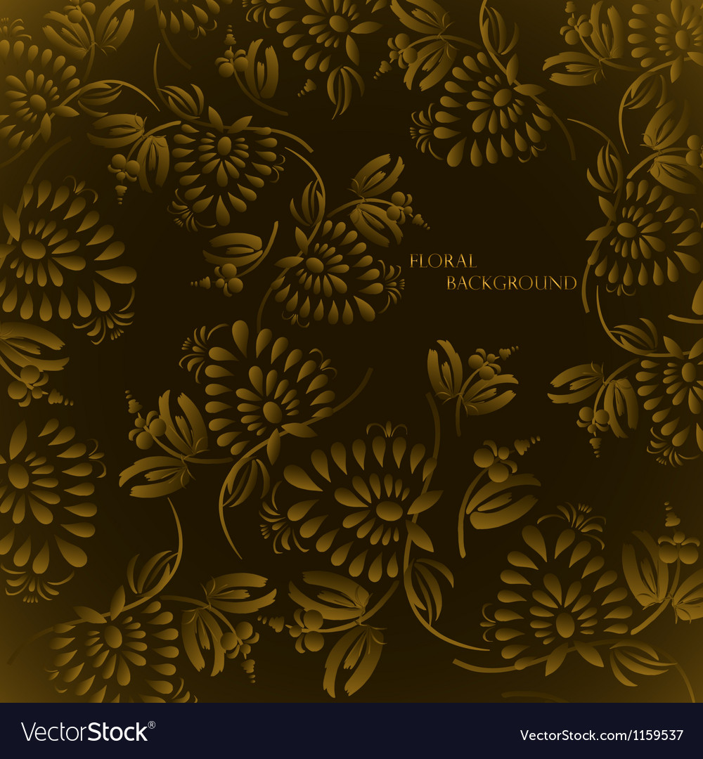 Seamless floral background pattern with gold vector image