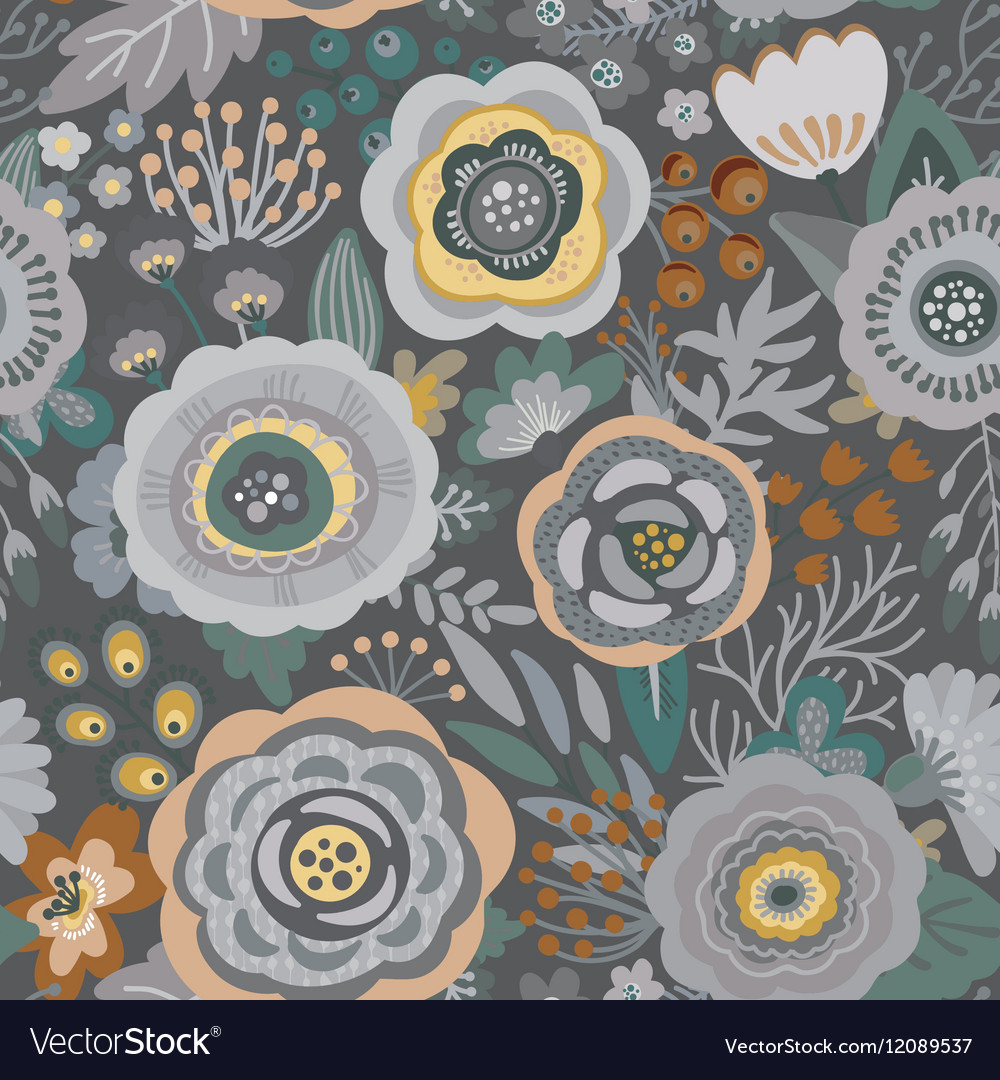 Seamless pattern with flowers leaves
