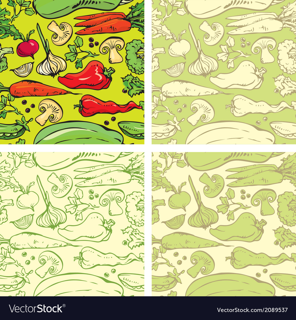 Set of seamless patterns with delicious vegetables