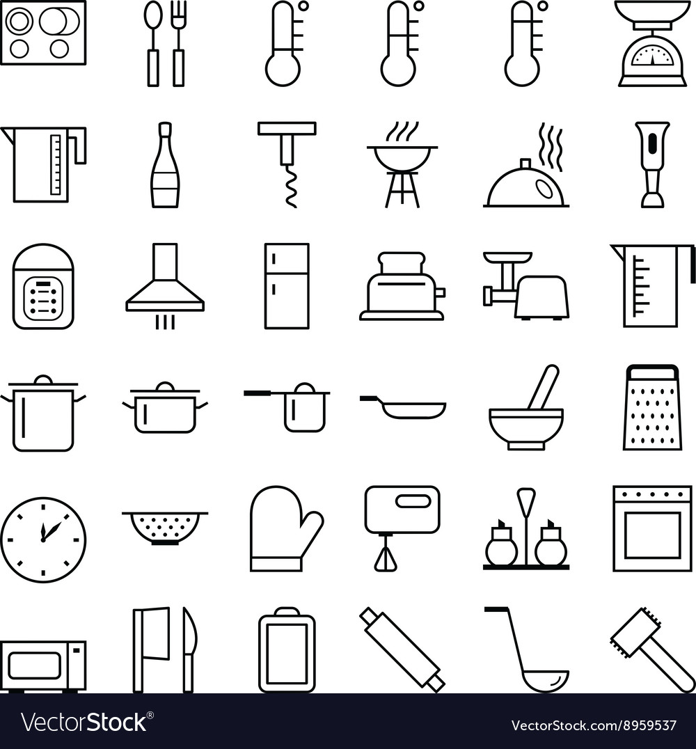 Set of web icons line food cooking