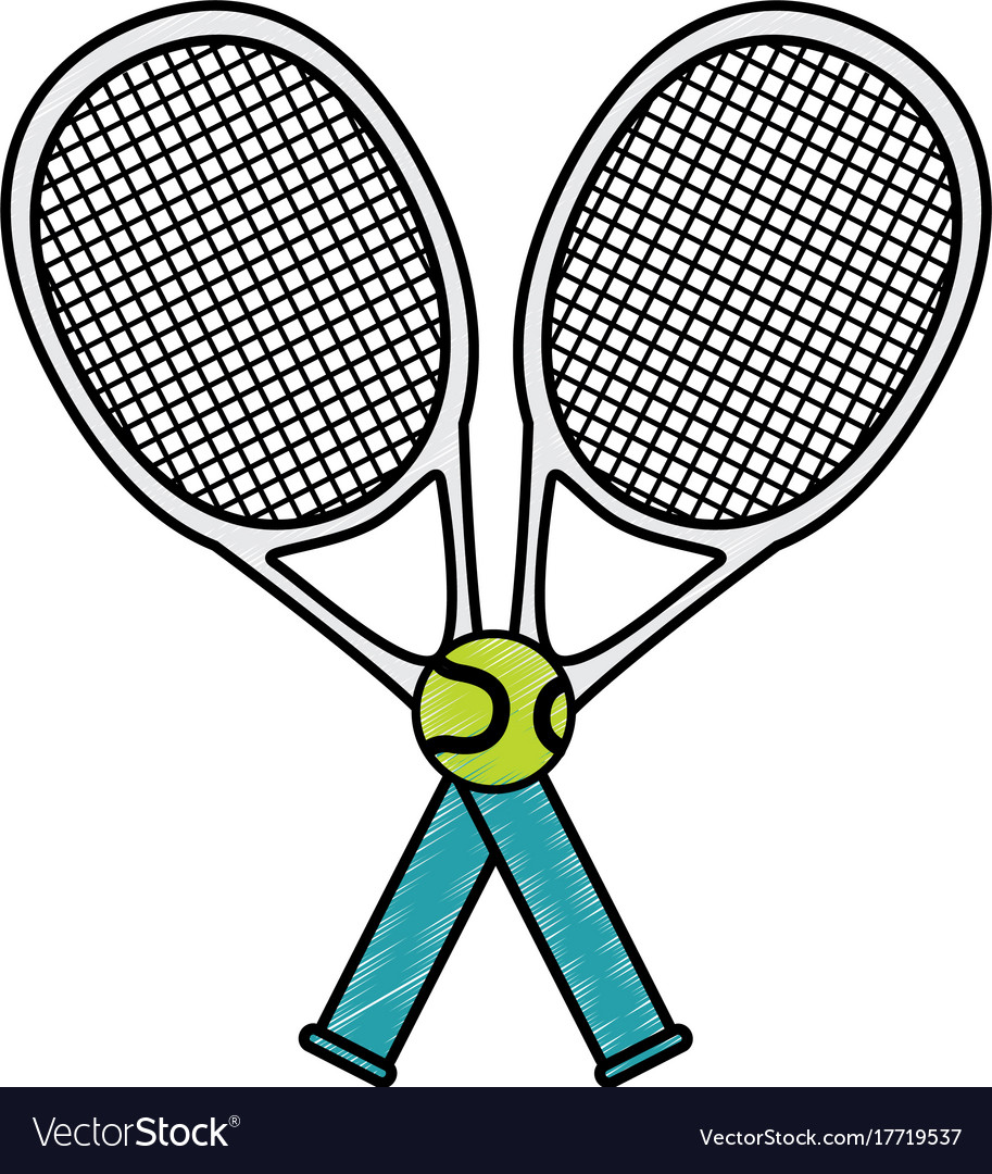 Tennis Sport Racket With Ball Royalty Free Vector Image