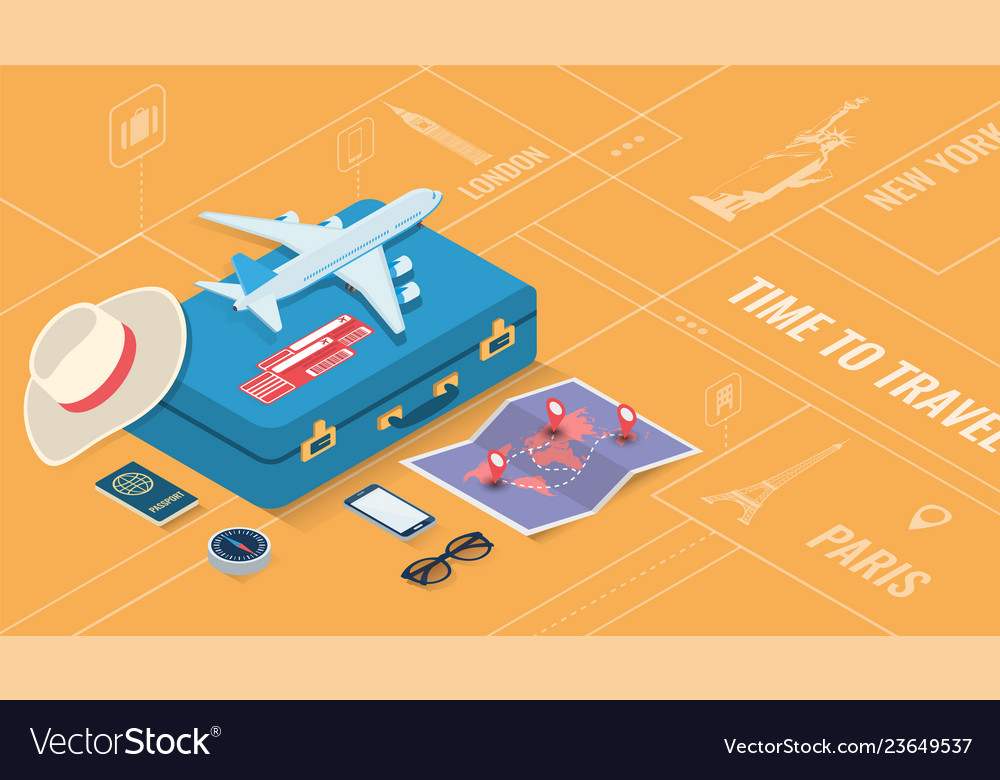 Travel equipment in isometric style travel and