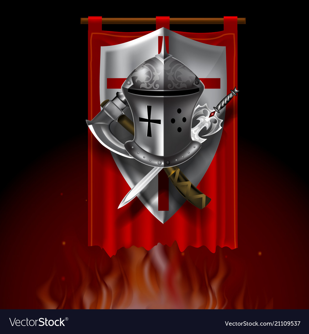Vintage medieval logo with shield helmet sword