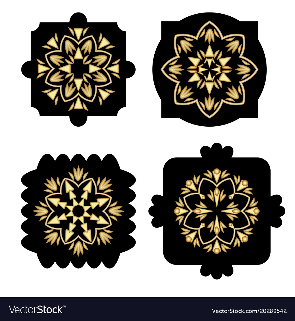 Black shapes with golden antiquarian geometric