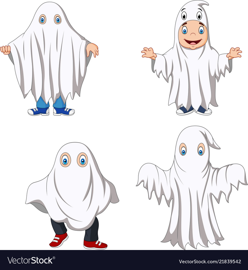 Cartoon kid with ghost costume collection