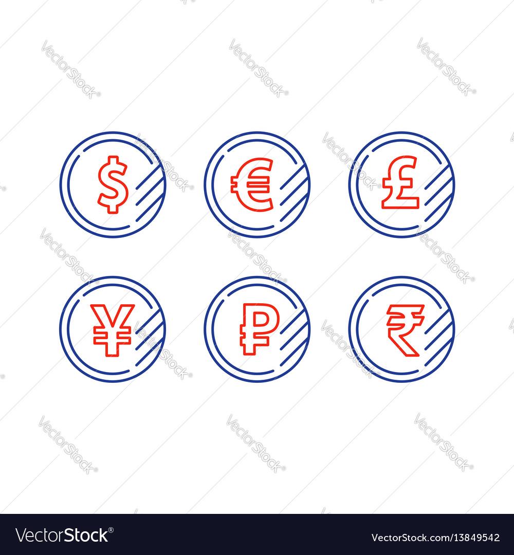 Dollar sign euro symbol pound icon ruble coin