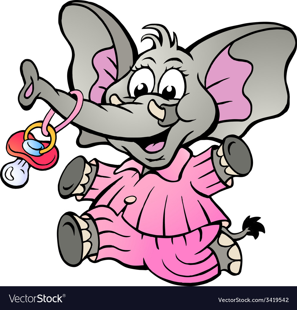 Hand-drawn of an Happy Baby Girl Elephant in