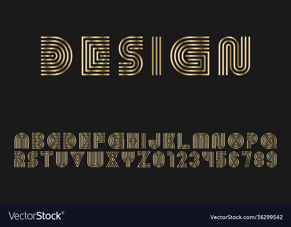 Luxury gold striped font - design english
