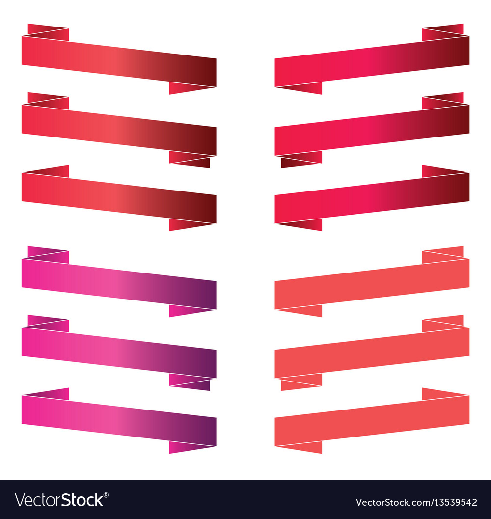 Red banners and ribbons isolated on white