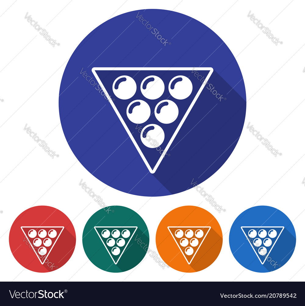 Round icon of billiards balls triangle flat style