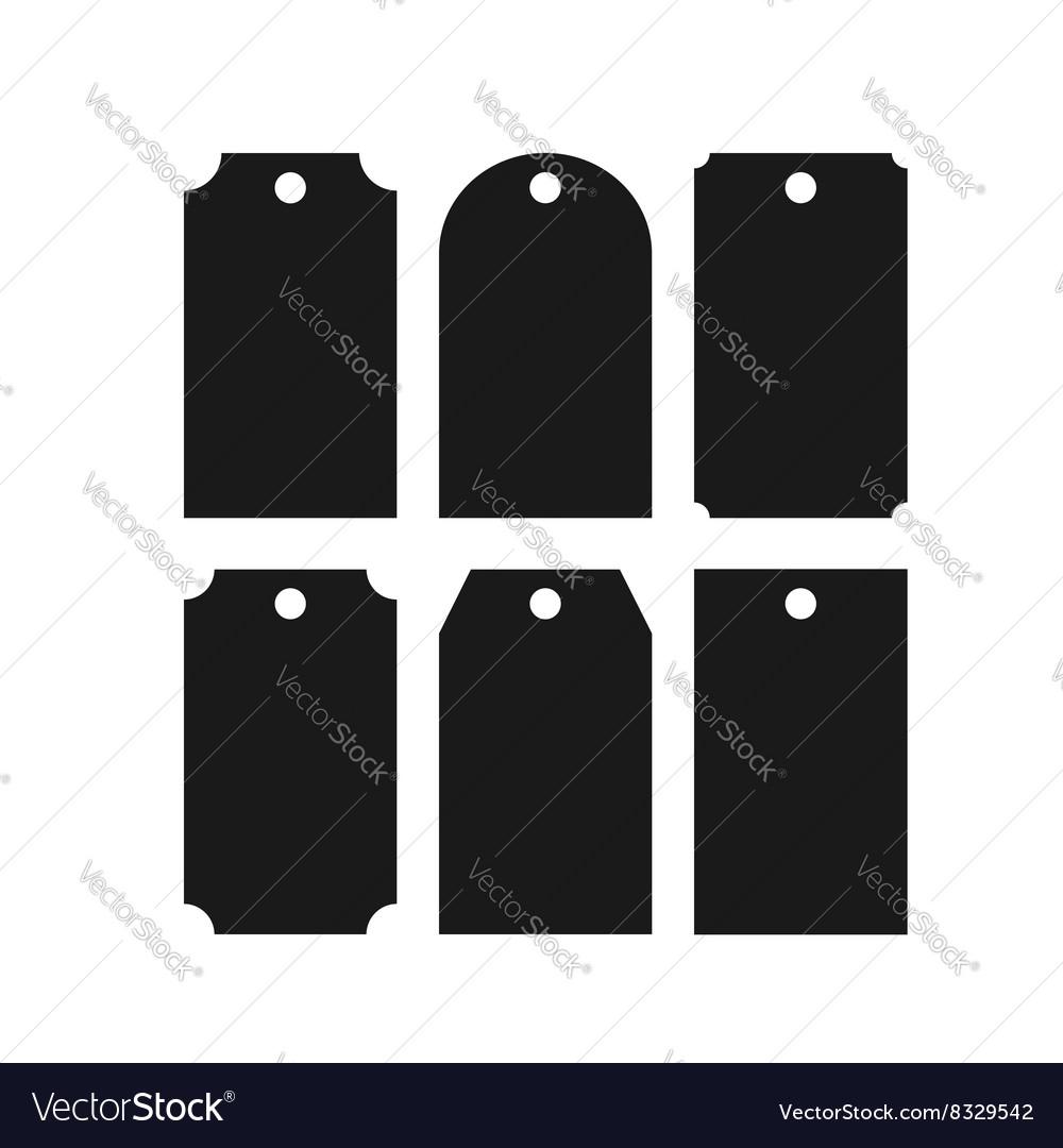Set black colored paper tag badge