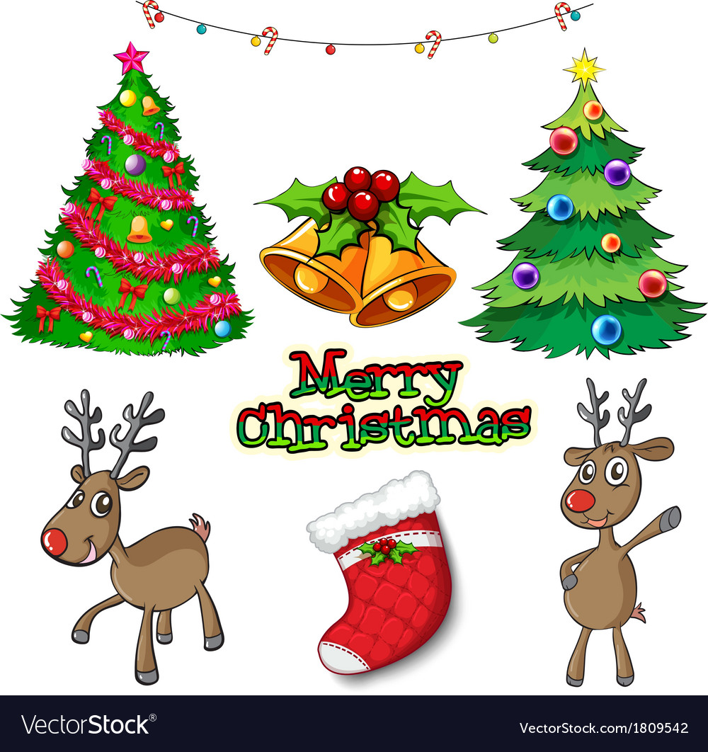 Set of christmas decors Royalty Free Vector Image