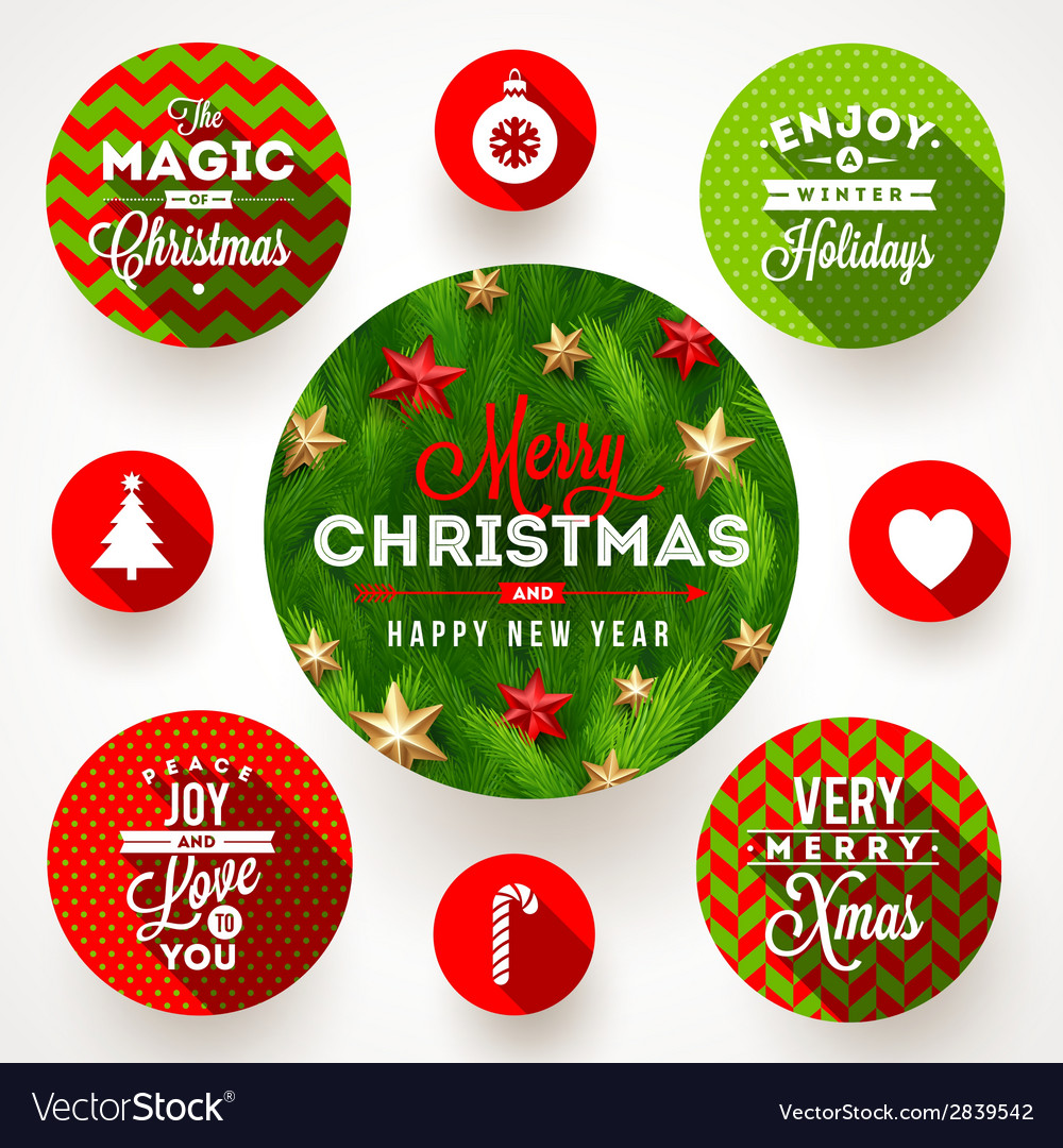 Set of round frames with Christmas greetings