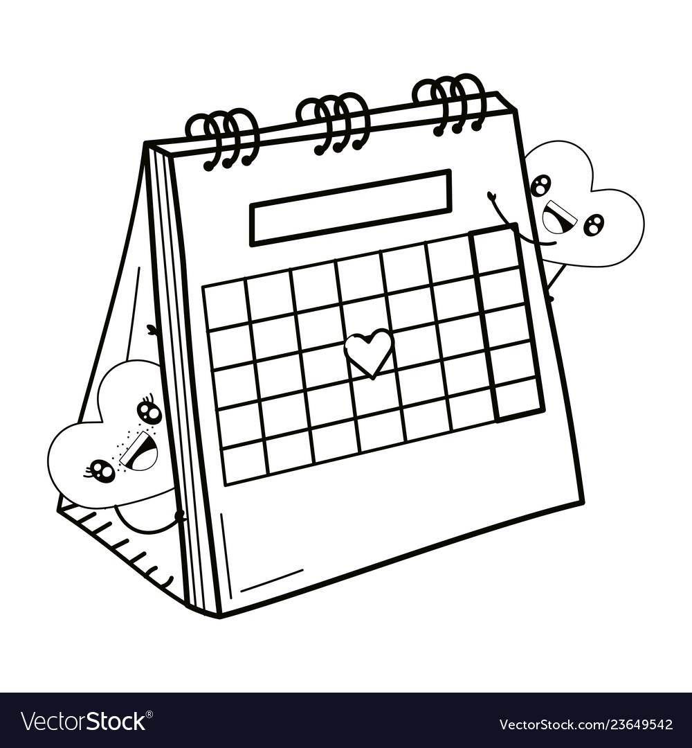 valentines day calendar cartoon royalty free vector image vectorstock